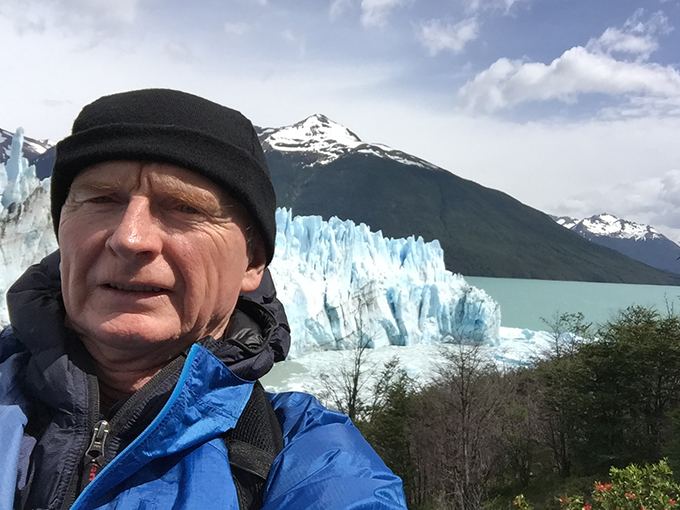 Thom in front of a glacier